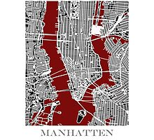 Map of Manhattan - Red  Photographic Print
