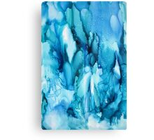 Blue Waterfall Abstract alcohol ink Canvas Print