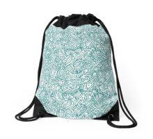 Teal Butterfly Zentangle Drawstring Bag