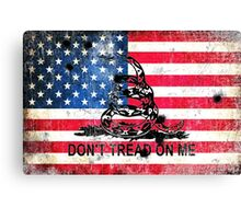 Viper N Bullet Holes On Old Glory Canvas Print