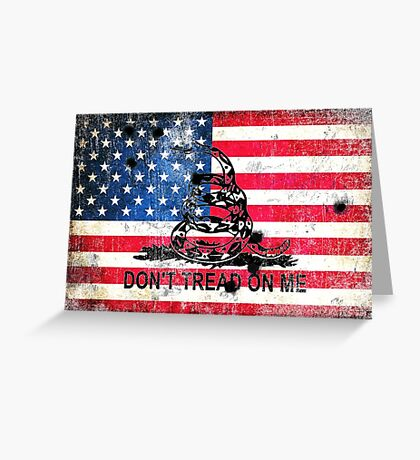 Viper N Bullet Holes On Old Glory Greeting Card