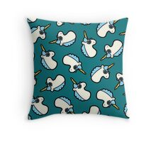 Unicorns Are Cool Pattern - Blue Throw Pillow