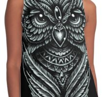 Hand Inked Night Owl Contrast Tank