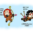 """Game of Thrones - Jon Snow and Ygritte """"Crows before Hoes"""" by charsheee"""