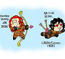 "Game of Thrones - Jon Snow and Ygritte ""Crows before Hoes"" by charsheee"