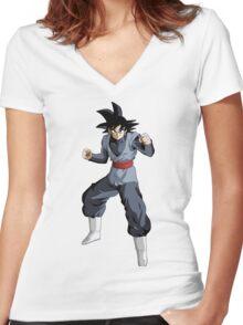 Black Goku Women's Fitted V-Neck T-Shirt