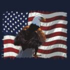 Bald Eagle and US Flag by Val  Brackenridge
