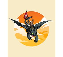 Toothless Targaryen Orange Photographic Print