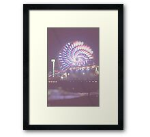 Santa Monica Pier Night Bokeh Framed Print