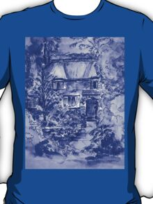 Thatched Cottage - Cyanotype of Original Painting by Heather Holland T-Shirt