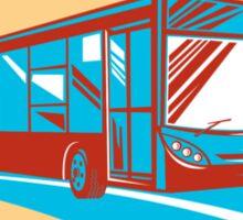 Tourist Coach Shuttle Bus Oval Retro Sticker
