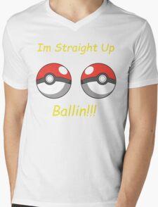 Pokemon Ballin Mens V-Neck T-Shirt