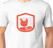 Hen Chicken Nest Egg Shield Retro Unisex T-Shirt