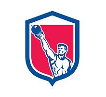 Weightlifter Lifting Kettlebell Shield Retro Photographic Print