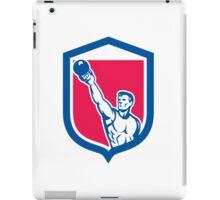 Weightlifter Lifting Kettlebell Shield Retro iPad Case/Skin