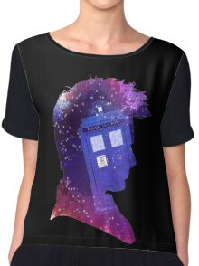 The Tenth Doctor Silhouette with TARDIS Chiffon Top