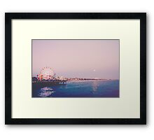 Santa Monica Pier Strawberry Moon Framed Print