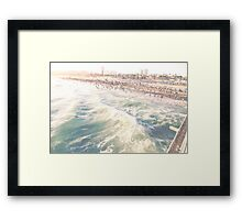 Santa Monica Green Surf Framed Print