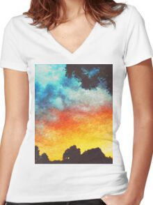 Landscape Sunset Women's Fitted V-Neck T-Shirt