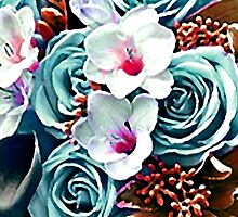Aqua Floral Watercolor Digital Painting by Vicky Brago-Mitchell