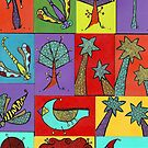 Block quilt colorful trees and bugs and birds by Casey Virata
