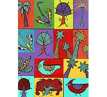 Block quilt colorful trees and bugs and birds Photographic Print