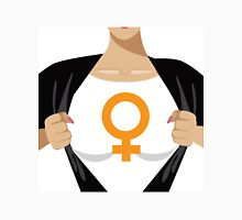 Superhero woman tearing open shirt to reveal female symbol Unisex T-Shirt
