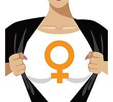 Superhero woman tearing open shirt to reveal female symbol Photographic Print