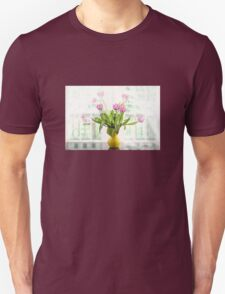 Pink Tulips In The Window Unisex T-Shirt