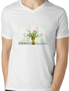 Pink Tulips In The Window Mens V-Neck T-Shirt