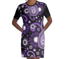 Violet and purple paisley Graphic T-Shirt Dress