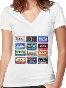 Acrylic Mix Women's Fitted V-Neck T-Shirt