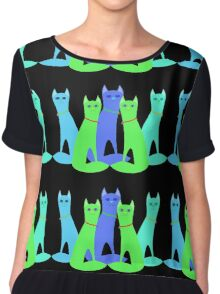 Cool Cats Chiffon Top