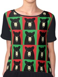 BLACK BEAR ON RED & GREEN Chiffon Top