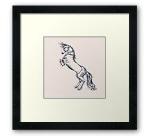 Rearing Horse in Dark Ink on Neutral Framed Print