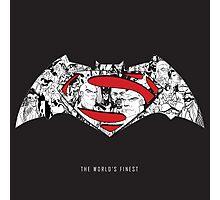Batman Superman Illustration Dark Photographic Print