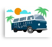 Just Smile and Wave - Surfing Design Canvas Print