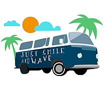 Just Smile and Wave - Surfing Design Photographic Print