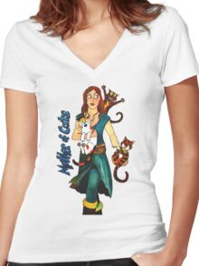 """Skyecatz: """"Mother of Cats"""" Women's Fitted V-Neck T-Shirt"""