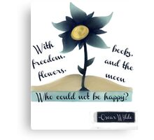 Flowers, Books and the Moon Canvas Print