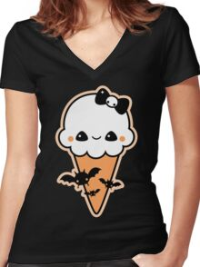 Cute Bat Cream Cone Women's Fitted V-Neck T-Shirt