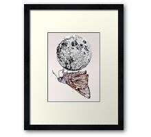 In which a moth is enticed by the light of the moon Framed Print