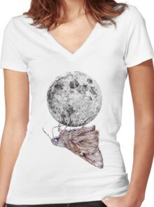 In which a moth is enticed by the light of the moon Women's Fitted V-Neck T-Shirt