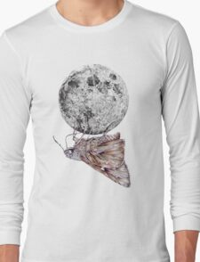 In which a moth is enticed by the light of the moon Long Sleeve T-Shirt