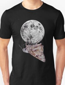 In which a moth is enticed by the light of the moon Unisex T-Shirt