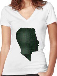 Mr Robot: Elliot Binary Head Women's Fitted V-Neck T-Shirt