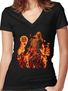 Volcanic Lady Women's Fitted V-Neck T-Shirt