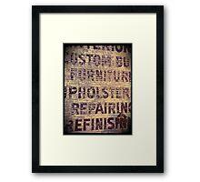 Upholstry Repair Framed Print