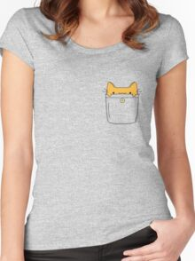 Pocket Cat - Orange Women's Fitted Scoop T-Shirt