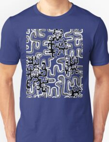 A Maze Ing White and Black Tangle Trasparent Background Unisex T-Shirt